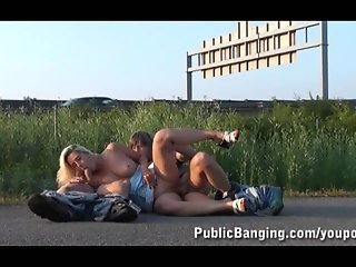 Pretty Girl Public Threesome By A Highway PART 2