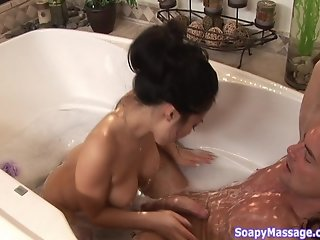 Beautiful asian gives erotic soapy massage p. 2/3