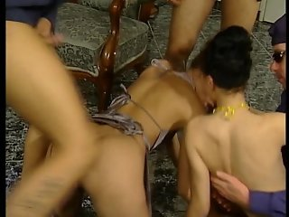 Group sex in the living room