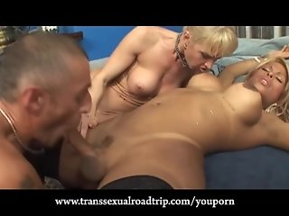 Sexy Couple Bring a Tranny Home for Threesome