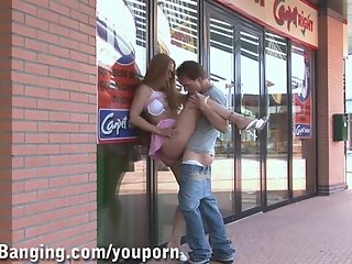 PUBLIC SEX - public couple by a store window