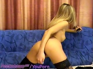 Teen In Stockings Fucks Herself