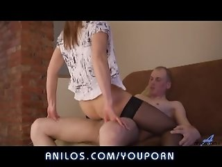 Brunette mother fucks and sucks young cock to orgasm