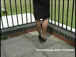 Sexy posh blonde has fetish for stockings and stilettos