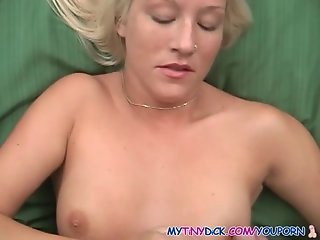 Blondie gets cum all over her small tits