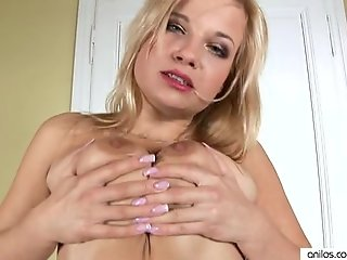 Masturbating blonde milf fucks