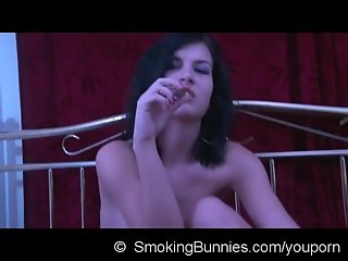 Sexy chick smoking cigarre