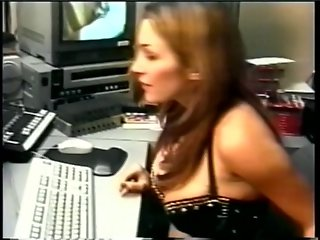 Gorgeous boss with tattoo and huge tits gets strap-on dildo fucked by employee