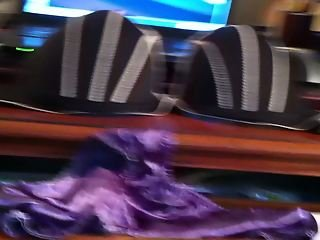 Jerking off with wifes satin panties and bra