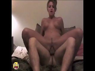 Tanned brunette rides on top until he blows it inside of her