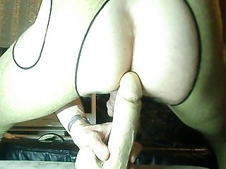 HUSBAND RIDES HIS BIG WHITE DILDO IN LEO-OUVERT-PANTYHOSE