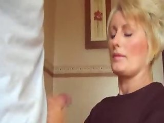 Cumshot on shirt and fingers mom