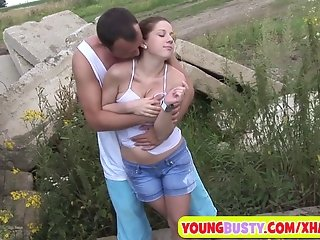 Hot naturally busty girl fucking outdoors