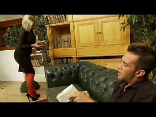 British slut Anna gets fucked in red fishnets