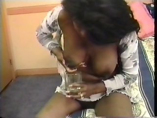 Big tit black lactating bbw milf squeezes milk from her own swollen tits