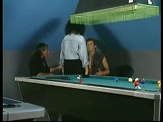 Hot double penetration on a billiards table