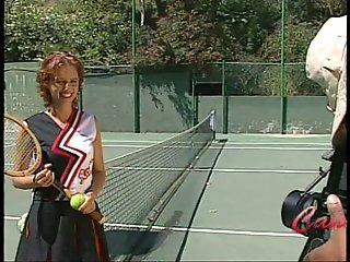 Tennis court sees slut get rammed hard