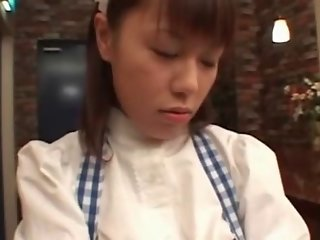 Busty Japanese Waitress Fucked in Public (Uncensored)