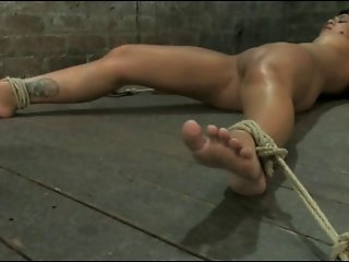 She's Floor Bound, Big Nipples Tied And Squirt!!!