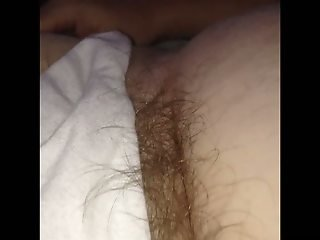Long pubic hairs escaping from her pantys, nipple play.