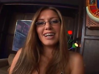 Glasses, braces and a lot of cum