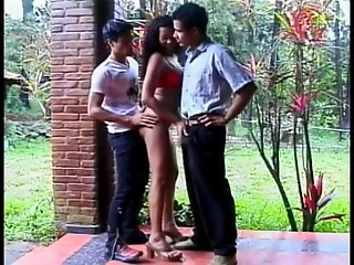 Two bisexual dark-haired guys seduce a biracial girl outdoors