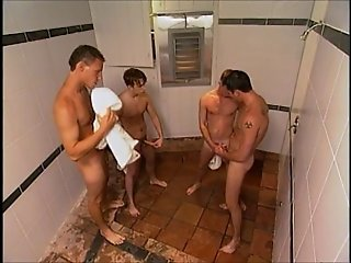 Gay foursome in the shower