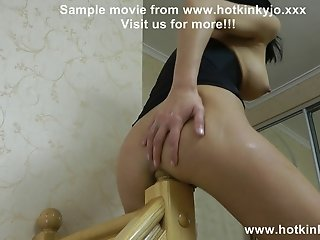 Stairpost fuck double anal fisting belly bulge HKJ KinkyNiky