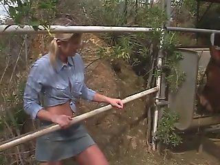 Small tits farm-girl banged by a big hard cock