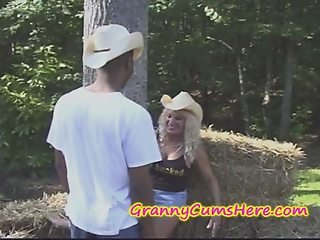 Granny gets a BBC and HOT CUM at the FARM