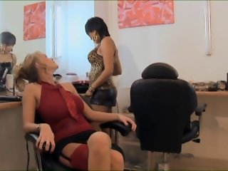 British blonde slut Paige in a FFM thressome in stockings
