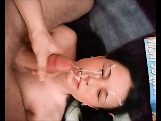 Russian beauty gets a thick huge facial. (With slo-mo)