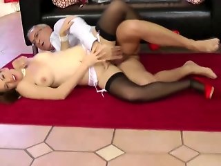 Young brit in stockings sixtynine with old sir