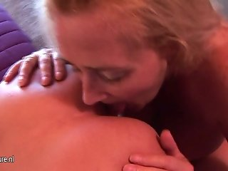 Granny fucks young lesbian with strapon