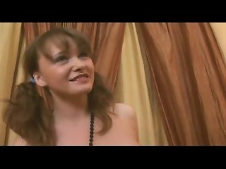 Young Brunette with pigtails loving cream and cock