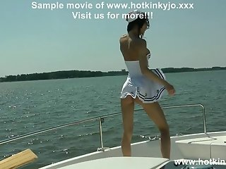 Hotkinkyjo hardcore anal fisting on the boat and prolapse