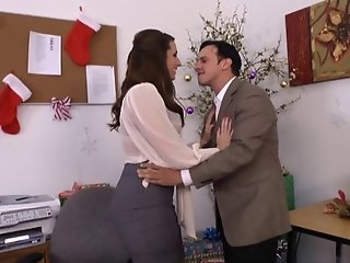British slut Paige gets fucked in the office in stockings