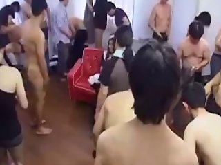 Japanese cumslut gangbang with creampie from over 30 men