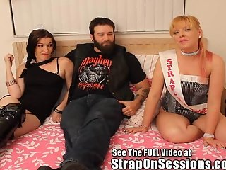 Tiny Dixie teams up with the StrapOnPrincess to peg a biker