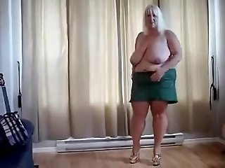 Striptease of fat mature