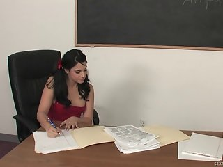 Cute Student Squirts All Over Her Teacher's Desk