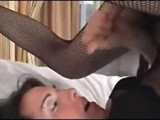 Shemale cums on her own face.