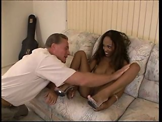 Old white guy penetrating young ebony whore