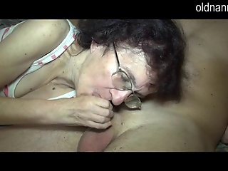 Old mom and young beauty Blowjob