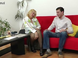 Slutty grandma fortune teller fucked by young cock