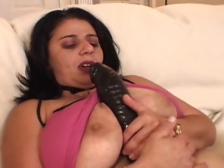 BBW-Granny takes 2 Guys and big Dildo