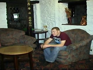 Blonde gets fucked by BF and his mate in the lounge bar