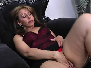 Dirty housewife MOM getting wet by her dildo