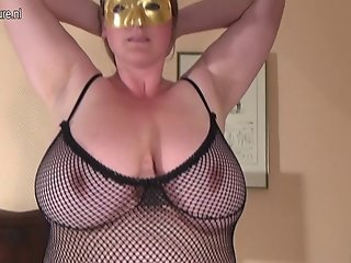 FAT Huge breasted housewife mom playing alone