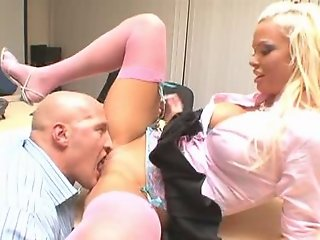 Busty blonde secretary fucked by her abusive boss